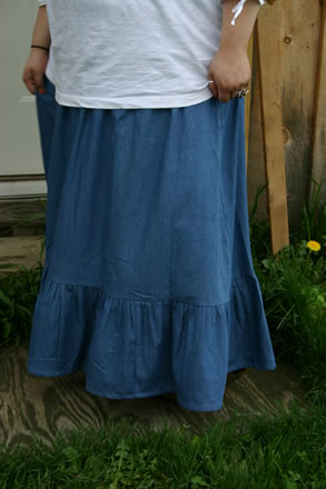 Ladies Denim Prairie Skirt